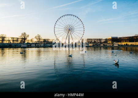 The ferris wheel on Concorde square reflects on the pond water surface in the Tuileries Garden, Paris, France. - Stock Photo
