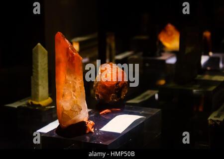 Orange Spessartine in Garnet Group - Stock Photo
