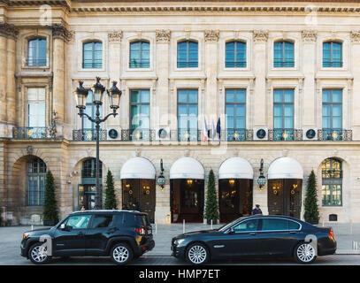 PARIS, FRANCE - CIRCA DECEMBER 2016: The Ritz Paris hotel on Place Vendome. - Stock Photo