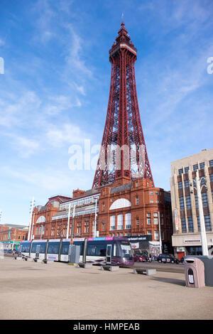 Blackpool Tower, Blackpool seafront - Stock Photo