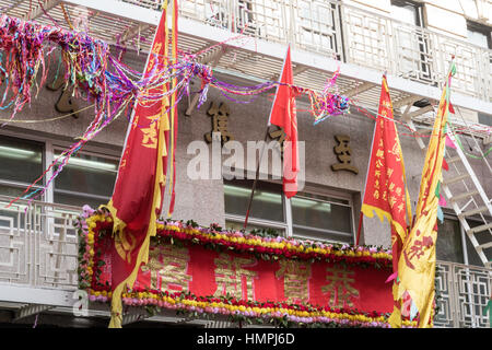 Banners and Flags, chinatown, NYC, USA - Stock Photo