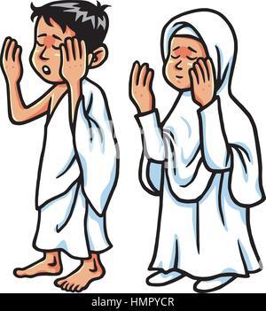 Boy And Girl Hajj Praying  Vector Illustration - Stock Photo