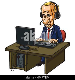 Vladimir Putin in Front of His Computer. Cartoon Caricature Vector Illustration - Stock Photo