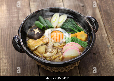 miso nikomi udon noodle soup, japanese food - Stock Photo