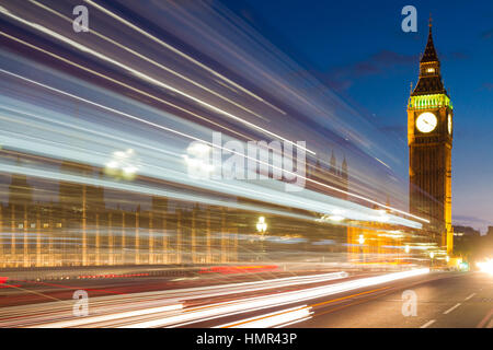 Traffic lines in front of Big Ben, London, England - Stock Photo