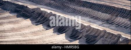 GARZWEILER, GERMANY - SEPTEMBER 01, 2016 : Panorana of Brown Coal Opencast Mining Field Details - Stock Photo