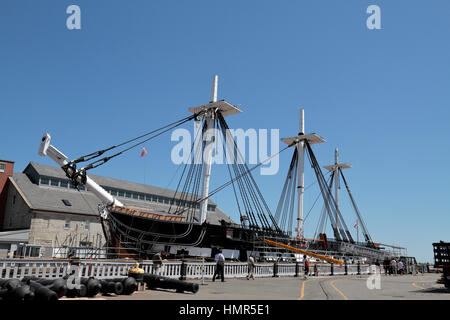 The USS Constitution, Boston National Historical Park, Charlestown Navy Yard, Boston, Massachusetts, United States. - Stock Photo