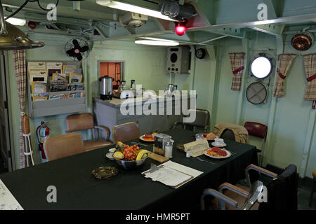 Officers wardroom on the USS Cassin Young, Boston National Historical Park, Charlestown Navy Yard, Boston, Massachusetts, - Stock Photo