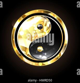 Jewelry, gold and black yin yang symbol on a black background. Gold yin yang. - Stock Photo