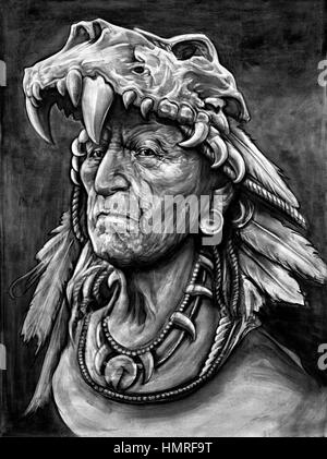 Black and white photography painting of a native American Indian chief. - Stock Photo