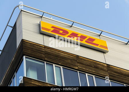 PRAGUE, CZECH REPUBLIC - FEBRUARY 5: DHL logistics company logo on the headquarters building on February 5, 2017 - Stock Photo