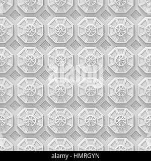 white tech background with octagon based shapes (seamless texture) - Stock Photo