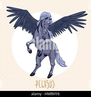 Vintage vector illustration of black winged pegasus, vintage vector design elements, greeting card - Stock Photo
