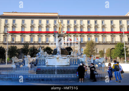 Naples, Italy. Piazza Municipio square. Palazzo San Giacomo, Naples Town Hall with the Peace flag and the seventeenth - Stock Photo