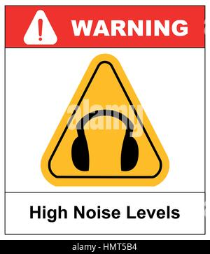 High noise levels. Wear earmuffs or ear plugs sign. Information mandatory symbol in yellow triangle isolated on - Stock Photo