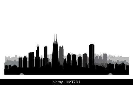 Chicago city buildings silhouette. USA urban landscape. American cityscape with landmarks. Travel USA skyline background. - Stock Photo