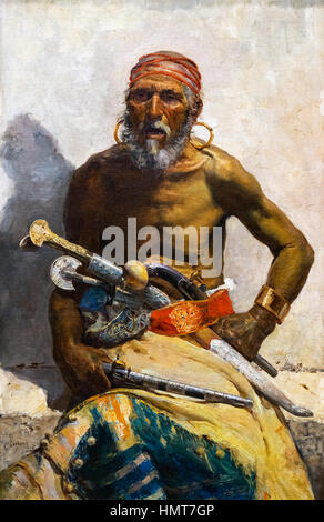 Arab Chief by Mariano Fortuny (1838-1874), oil on canvas, 1874 - Stock Photo