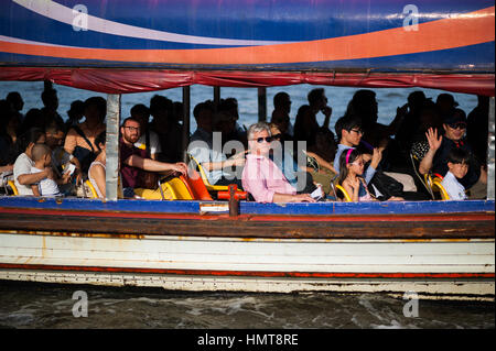 Tourist boat drive in Bangkok - Stock Photo