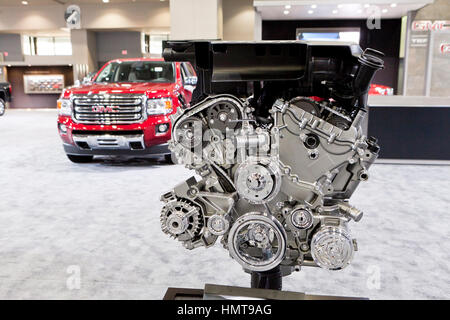 Chrome plated engine display at 2017 Washington Auto Show GMC exhibit - Washington, DC USA - Stock Photo