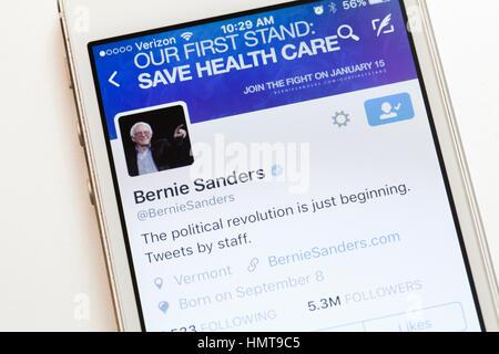 Senator Bernie Sanders Twitter account  on mobile phone screen - USA - Stock Photo