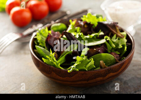 Fresh spring mix salad leaves in wooden bowl with spinach, arugula and lettuce - Stock Photo
