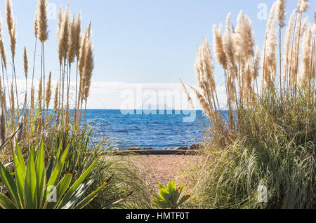 Far view of Gibraltar from Estepona, Costa del Sol, malaga, Spain. - Stock Photo