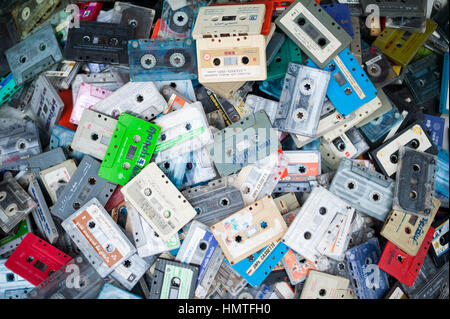 Pile of old cassette tapes - Stock Photo