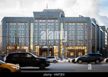 Moscow, Russia. 5th Feb, 2017. Audit Chamber of the Russian Federation on Zubovskaya square. Frontal view. Cold - Stock Photo
