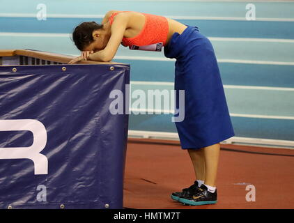 Moscow, Russia. 5th Feb, 2017. Russia's Maria Kuchina during the pole vault competition at the 26th Russian Winter - Stock Photo
