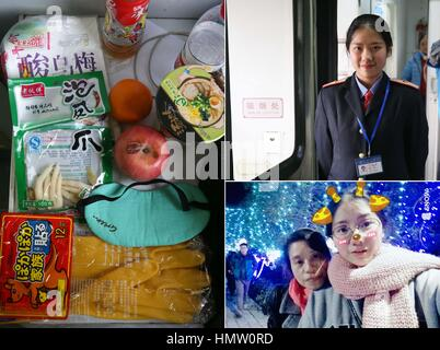 Shanghai. 5th Feb, 2017. Combo photo made on Feb. 5, 2017 shows Meng Juan (R on top) posing on a train, snacks and - Stock Photo