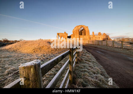 Egglestone Abbey, Barnard Castle, Teesdale, Co Durham, UK. 6th February 2017. UK Weather. It was a bright frosty - Stock Photo