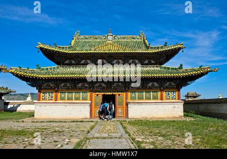 Visitors at the Eastern Zuu temple, Erdene Zuu monastery, Kharkhorin, Övörkhangai Aimag, Mongolia - Stock Photo