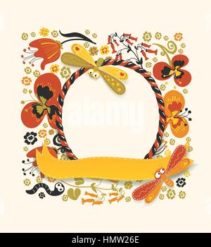 Decorative round frame made of candy cane and yellow ribbon. Various plants, flowers, and cute insects on a floral - Stock Photo