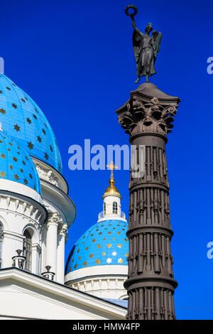the gold starred domes of Trinity Cathedral, St Petersburg, Russia - Stock Photo