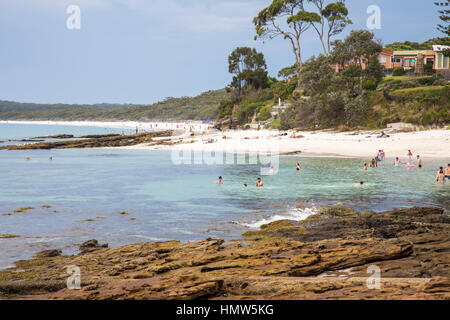Hyams Beach and rock formation on the South Coast of New South Wales, Jervis Bay,Australia - Stock Photo