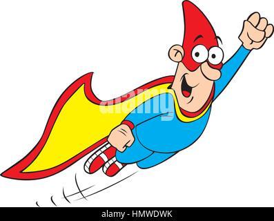 Vector illustration of cartoon geek hero character - Stock Photo