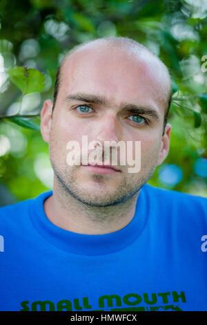 Singer-songwriter Jeremy Enigk, in Grant Park, Chicago, in 2006. - Stock Photo