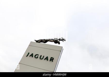 Jaguar sign car dealers dealer dealership sign car sales car dealer emblem UK England - Stock Photo