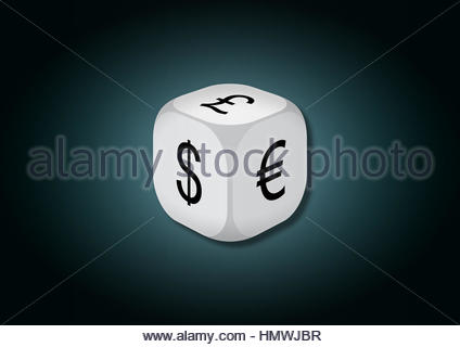 A 3D illustration of a dice with currency symbols. On each face of the dice are illustrated symbols of dollar, euro - Stock Photo