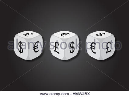 A 3D illustration of three dice with currency symbols. On each face of the dice are illustrated symbols of dollar, - Stock Photo