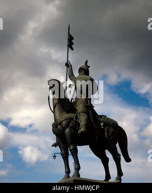 Equestrian statue of Vimara Peres (died, 873). Nobleman from the Kingdom of Asturias and 1st Count of Portugal. - Stock Photo