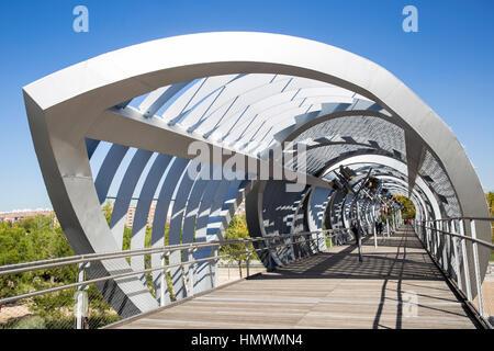 Madrid Rio park, Perrault bridge,  Madrid, Spain - Stock Photo
