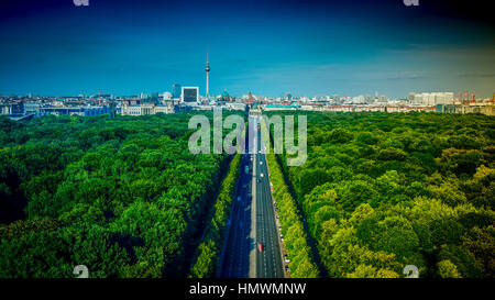 View of Berlin, aerial view from The Victory Column (German: Siegessule).The Victory Column is a major tourist attraction - Stock Photo