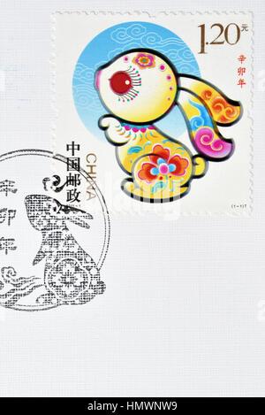 CHINA - CIRCA 2011: A stamp printed in China shows 2011-1 zodiac new year Rabbit. circa 2011. - Stock Photo
