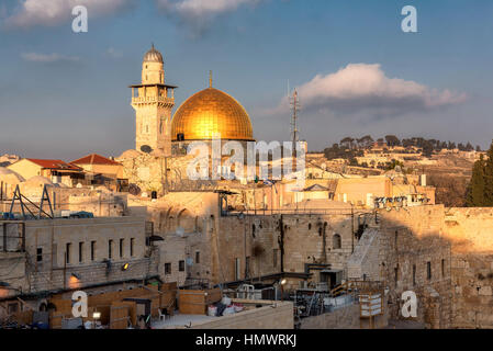 A view of golden Dome of the Rock at sunset, Jerusalem, Israel. - Stock Photo