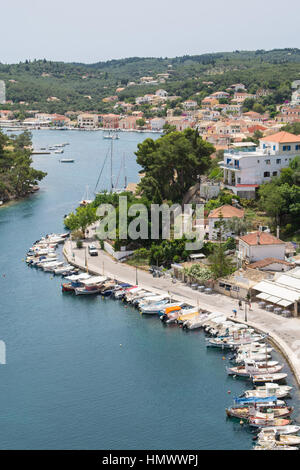 elevated view of Gaios, Paxos, Ionian Islands, Greece - Stock Photo