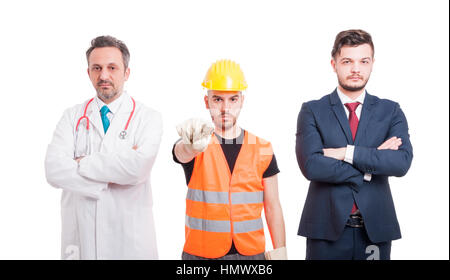 Image of doctor, lawyer and constructor looking serious and pointing you as blame or fault concept isolated on white - Stock Photo