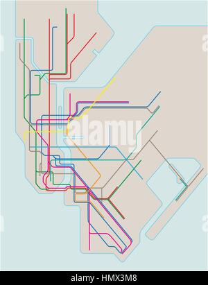 colored subway vector map of New York City 2.eps - Stock Photo