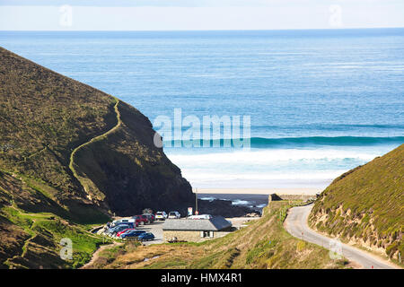 Chapel Porth, a small cove with a fine beach on the north coast of Cornwall, England, UK. - Stock Photo