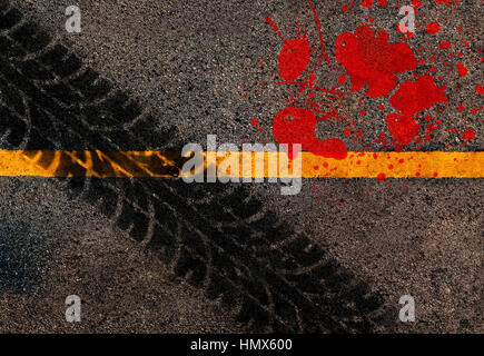 Yellow line on the high way.Conceptual of accident between tire track and blood .Used film filter for old color - Stock Photo
